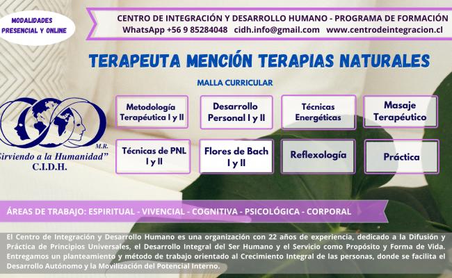 TERAPEUTA MENCIÓN TERAPIAS NATURALES